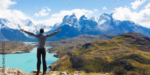 Tablou Canvas man hiking in patagonia