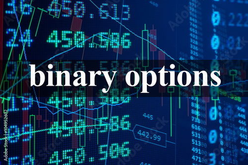 Words binary options  with the financial data on the background.