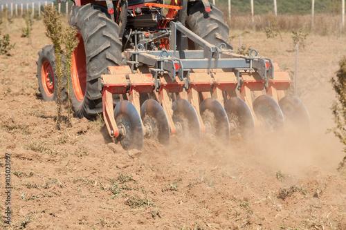 Obraz na plátně Close up of a disc harrow system, cultivate the soil