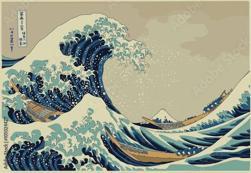 Leinwand Poster The big wave off Kanagawa - Hokusai