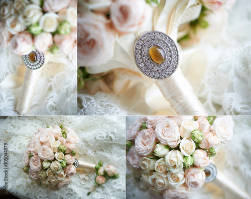 Foto Collage: The bride's bouquet with brooch