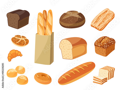 Valokuva Set of cartoon food: bread - rye bread, ciabatta, wheat bread, whole grain bread, bagel, sliced bread, french baguette, croissant and so