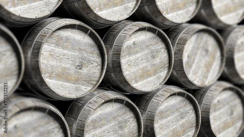 Fotografie, Obraz Arranged lines of barrels