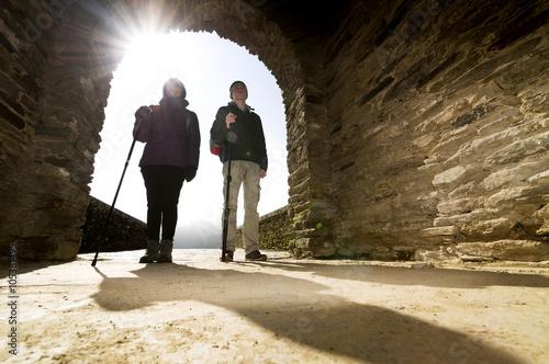 Billede på lærred pilgrims in Portomarin village , Way of St James, Camino de Santiago, Compostela