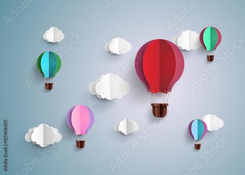 Obraz na płótnie hot air balloon and cloud