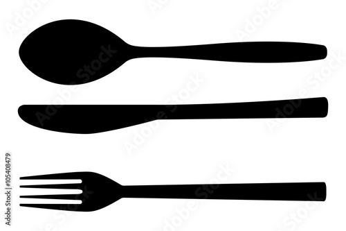 Fototapeta Cutlery set. Fork, spoon, knife. Kitchenware icon