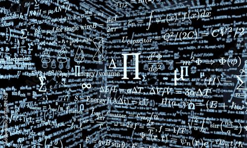 Photo black mathematics board with formulas