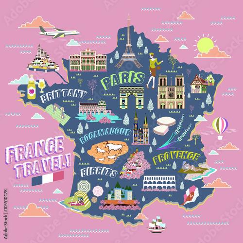 Fotografia France travel map