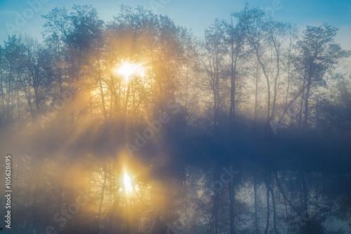 Obraz na plátně Morning fog on a lowland river
