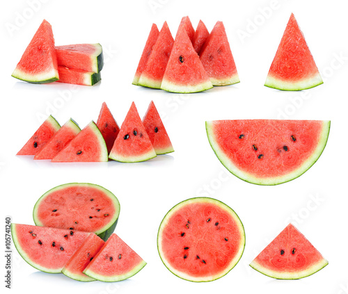 Sliced of watermelon isolated on the white