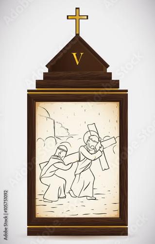 Simon of Cyrene Helps Jesus Carry the Cross, Vector Illustration Fototapeta