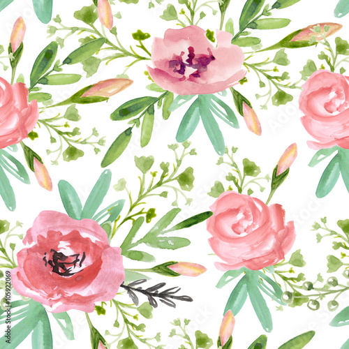 Seamless floral pattern with pink flowers  on a white background