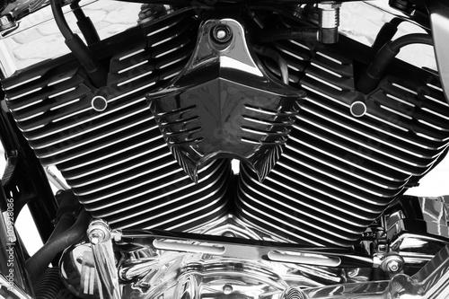 Canvas Print Motorbike's chromed engine black and white background