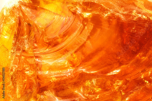 Photo abstract of sunlight passed throughout piece of rosin