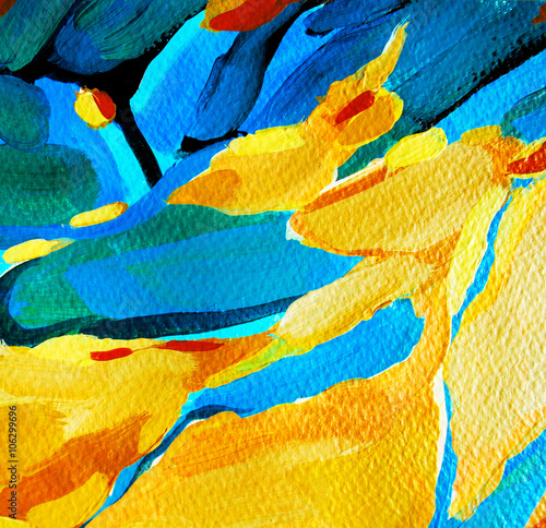 decorative abstract painting, illustration, water-colour