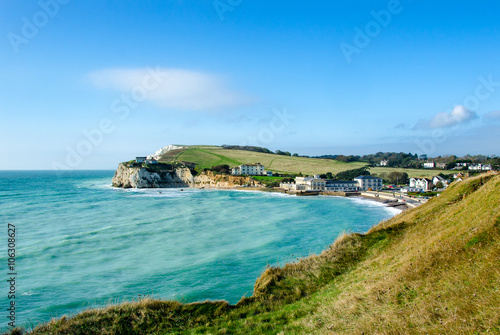 Fotografie, Obraz Freshwater Bay and Tennyson Down on the Isle of Wight, UK
