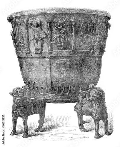 Baptismal font of copper, cast iron (1149), vintage engraving. Fototapet