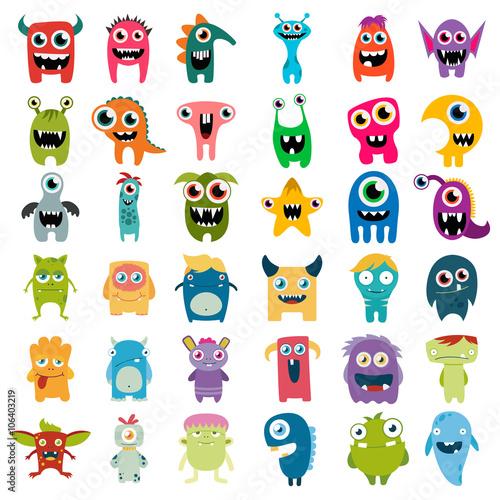 Photo big vector set of cartoon cute monsters