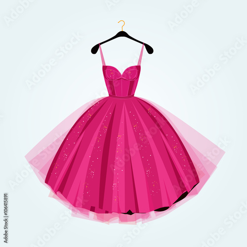 Canvas-taulu Pink party dress.Prom dress.Vector illustration