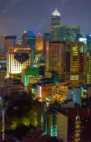 Bangkok office buildings at night