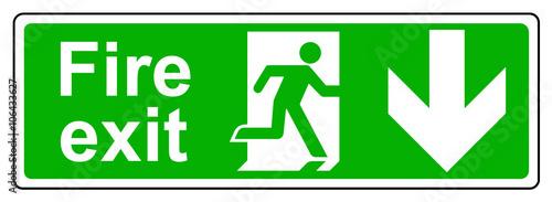 Fotografija Fire exit down sign