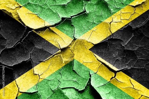 Grunge Jamaica flag with some cracks and vintage look Fotobehang