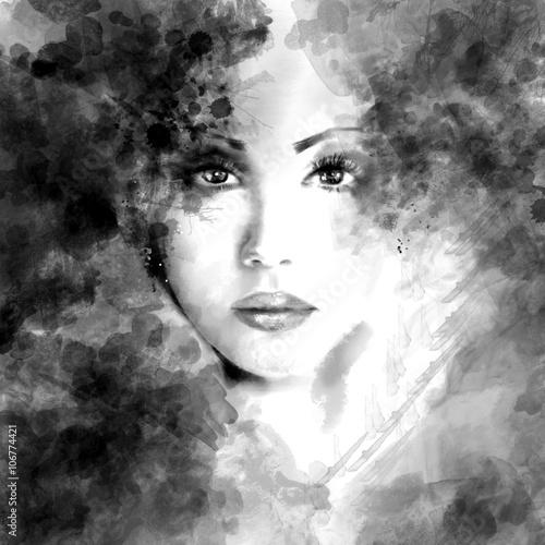 Plakat Abstrakcyjny portret pięknej kobiety