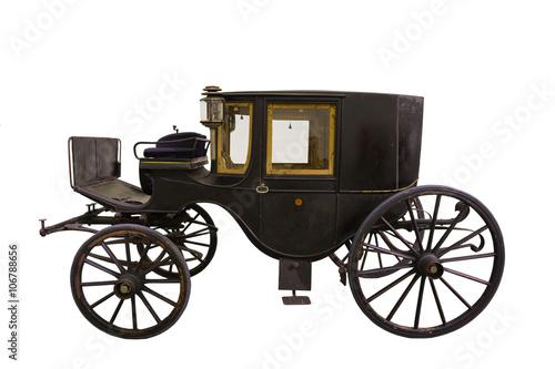 Fotografía Samrt black historic carriage isolated on white
