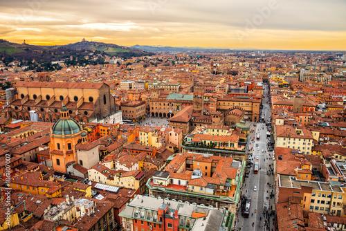 Obraz na plátně Aerial view of Bologna, Italy at sunset
