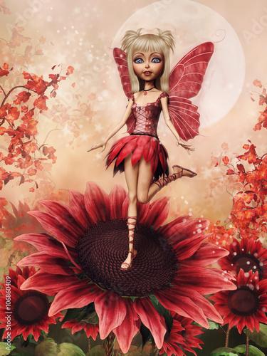 Fototapeta premium Baśniowa wróżka i czerwone kwiaty na tle księżyca