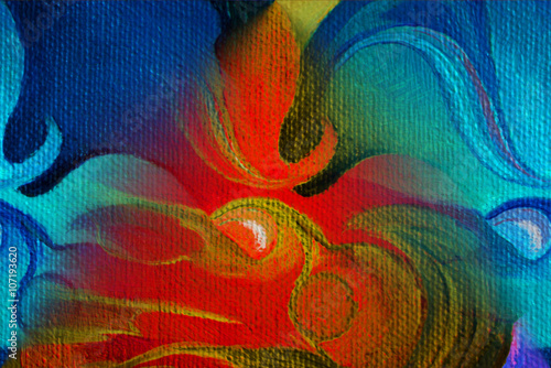 decorative flower painting by oil on canvas, illustration