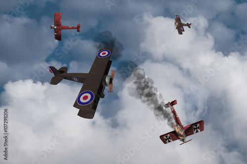 Billede på lærred World War One Aircraft in a dogfight