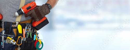 Obraz na płótnie Builder handyman with a drill.
