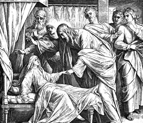 Obraz na plátne Jesus Raising Jairus' Daughter 1) Sacred-biblical history of the old and New Testament