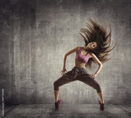Canvas Print Fitness Sport Dance, Woman Dancer Flying Hair Dancing, Concrete