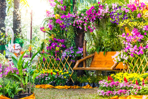 Fotografija Wood chair in the flowers garden