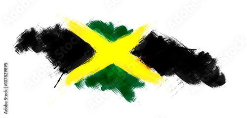 Valokuvatapetti Grunge map of Jamaica with Jamaican flag