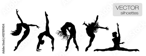 Canvas Print Silhouettes of sexy beautiful women dancing