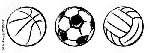 Cuadros en Lienzo Set sport balls grunge
