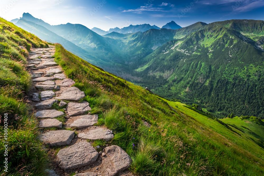Footpath in the Tatras Mountains at sunrise, Poland - obrazy, fototapety, plakaty