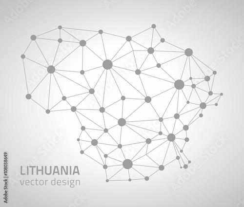 Fotografia Lithuana grey vector polygonal map