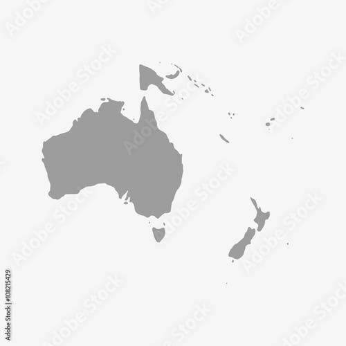 Wallpaper Mural Map of Oceania in gray on a white background