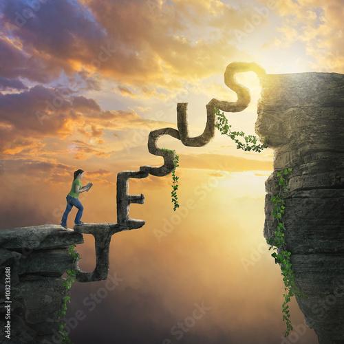 Canvastavla Jesus bridge between cliffs