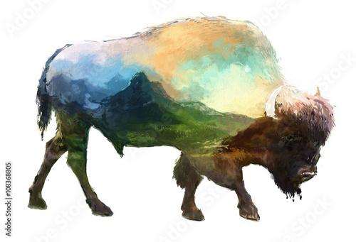 Cuadros en Lienzo Bison double exposure illustration