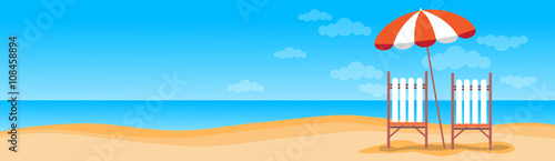 Fotografie, Obraz Summer Beach Vacation Sunbed With Umbrella Sand Tropical Banner Copy Space