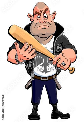 Obraz na plátne Nazi skinhead with a baseball bat.