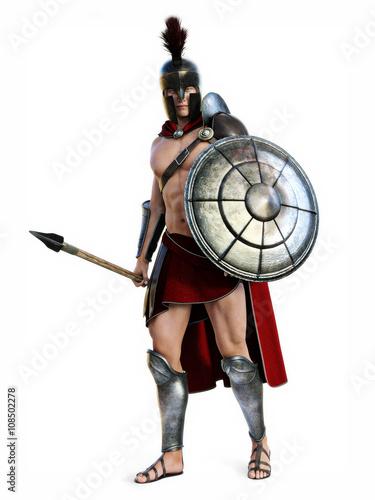 Obraz na płótnie The Spartan , Full length illustration of a Spartan in Battle dress posing on a white background