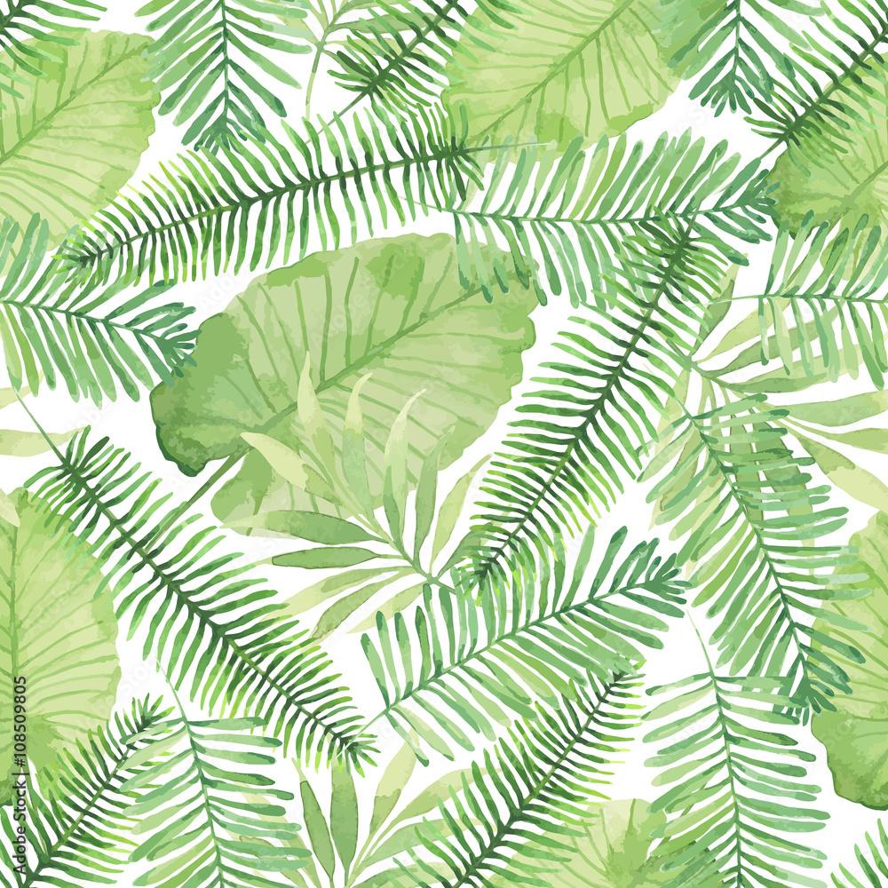 Fototapeta Z liśćmi tropikalnymi zieleone