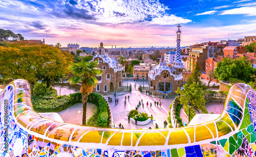 Fotografie, Tablou View of the city from Park Guell in Barcelona, Spain