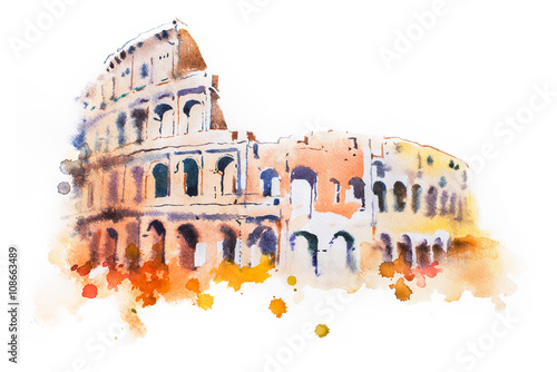 Cuadros en Lienzo watercolor drawing of Coliseum in Rome